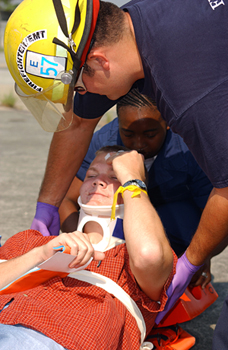 This is an image of EMT's at work.