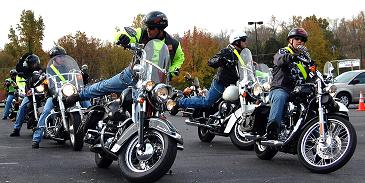 A group of motorcycle riders.