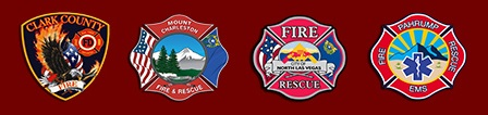 Clark County Fire Department logo, Mount Charleston Fire & Rescue logo,  North Las Vegas Fire Department log, Pahrump Valley Fire & Rescue log